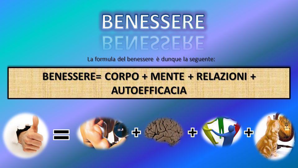 BENESSERE= CORPO + MENTE + RELAZIONI + AUTOEFFICACIA