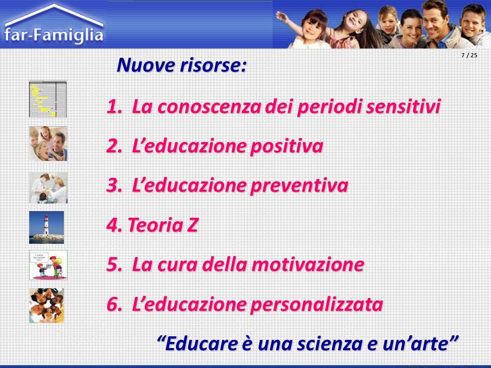 La conoscenza dei periodi sensitivi L'educazione positiva