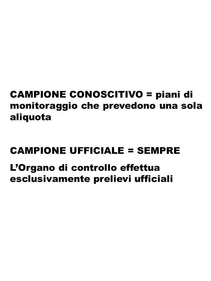 CAMPIONE CONOSCITIVO = piani di monitoraggio che prevedono una sola aliquota