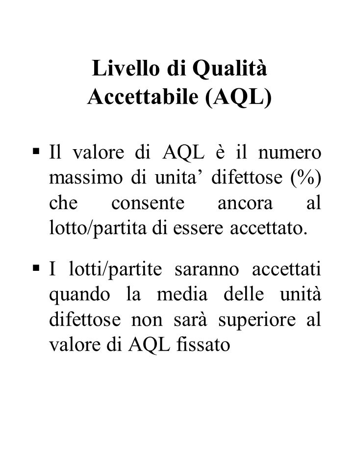 Livello di Qualità Accettabile (AQL)