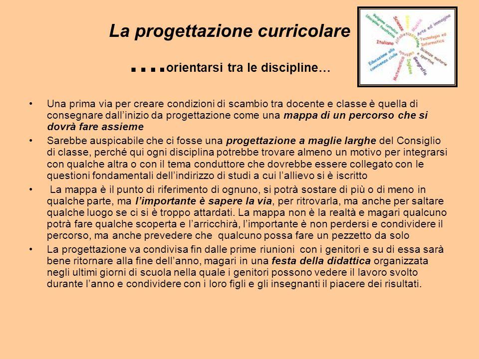 La progettazione curricolare ….orientarsi tra le discipline…