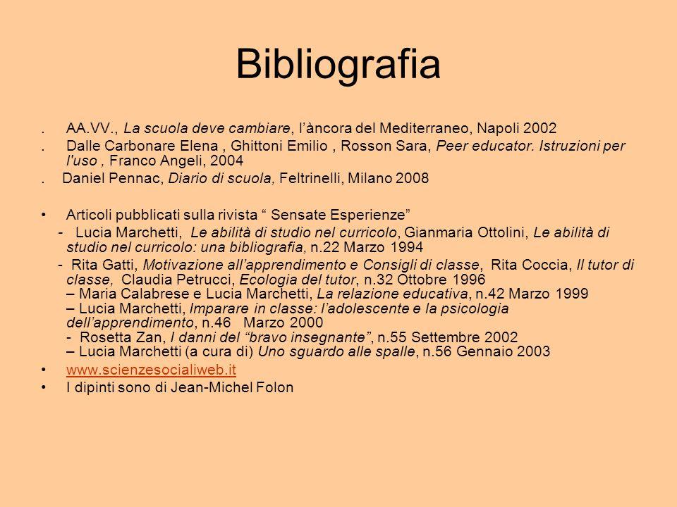 Bibliografia . AA.VV., La scuola deve cambiare, l'àncora del Mediterraneo, Napoli 2002.