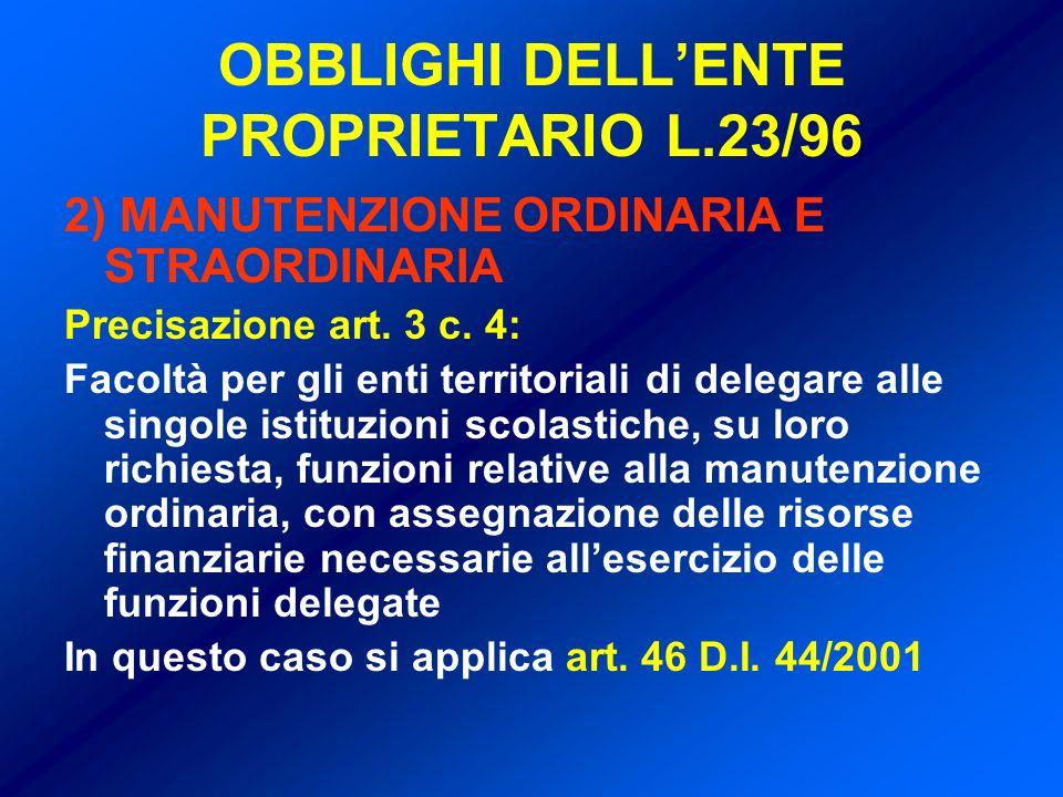 OBBLIGHI DELL'ENTE PROPRIETARIO L.23/96