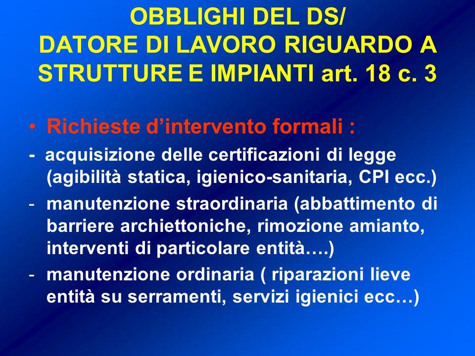 OBBLIGHI DEL DS/ DATORE DI LAVORO RIGUARDO A STRUTTURE E IMPIANTI art