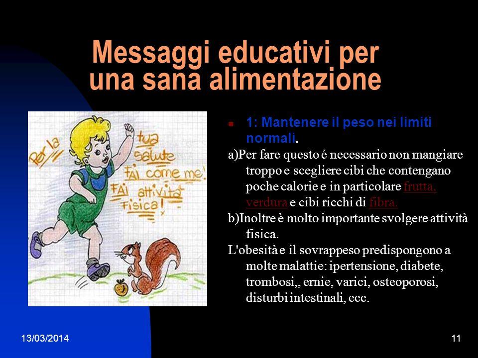 Messaggi educativi per una sana alimentazione
