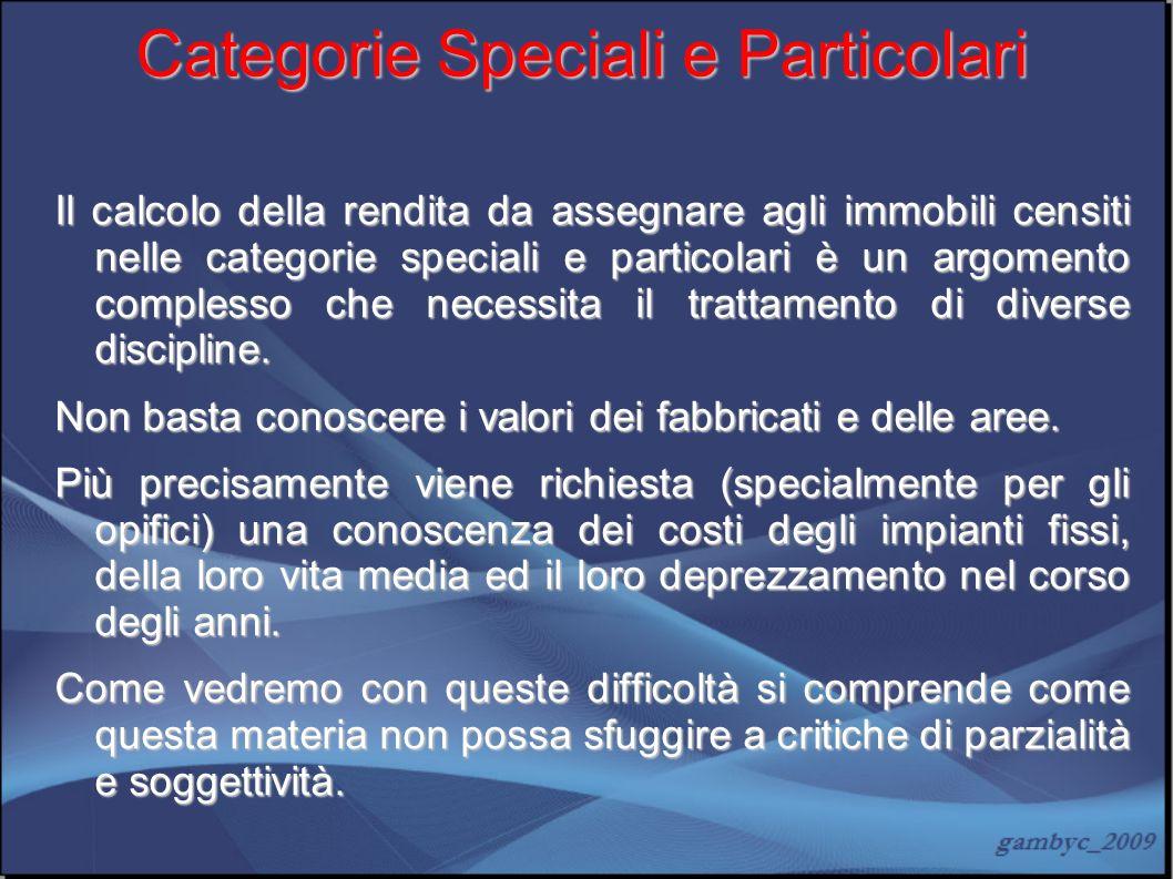 Categorie Speciali e Particolari