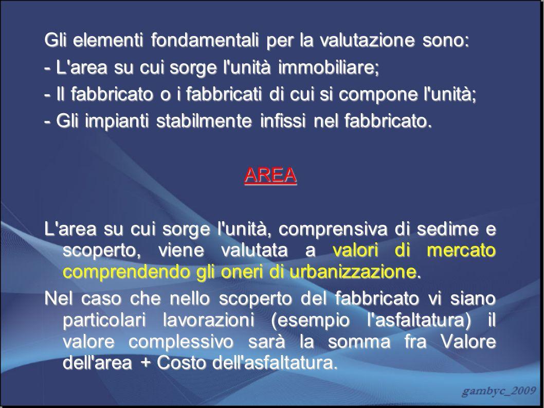 Gli elementi fondamentali per la valutazione sono: