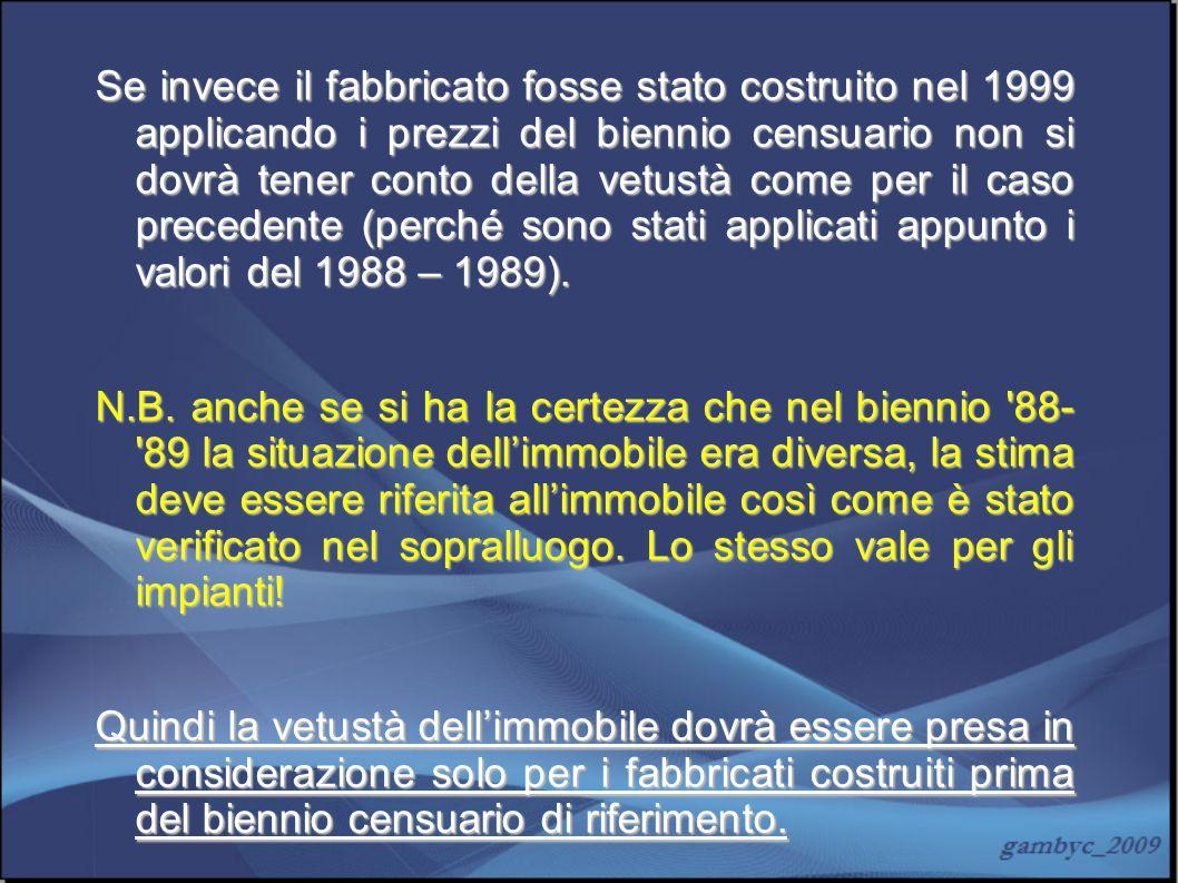 Se invece il fabbricato fosse stato costruito nel 1999 applicando i prezzi del biennio censuario non si dovrà tener conto della vetustà come per il caso precedente (perché sono stati applicati appunto i valori del 1988 – 1989).