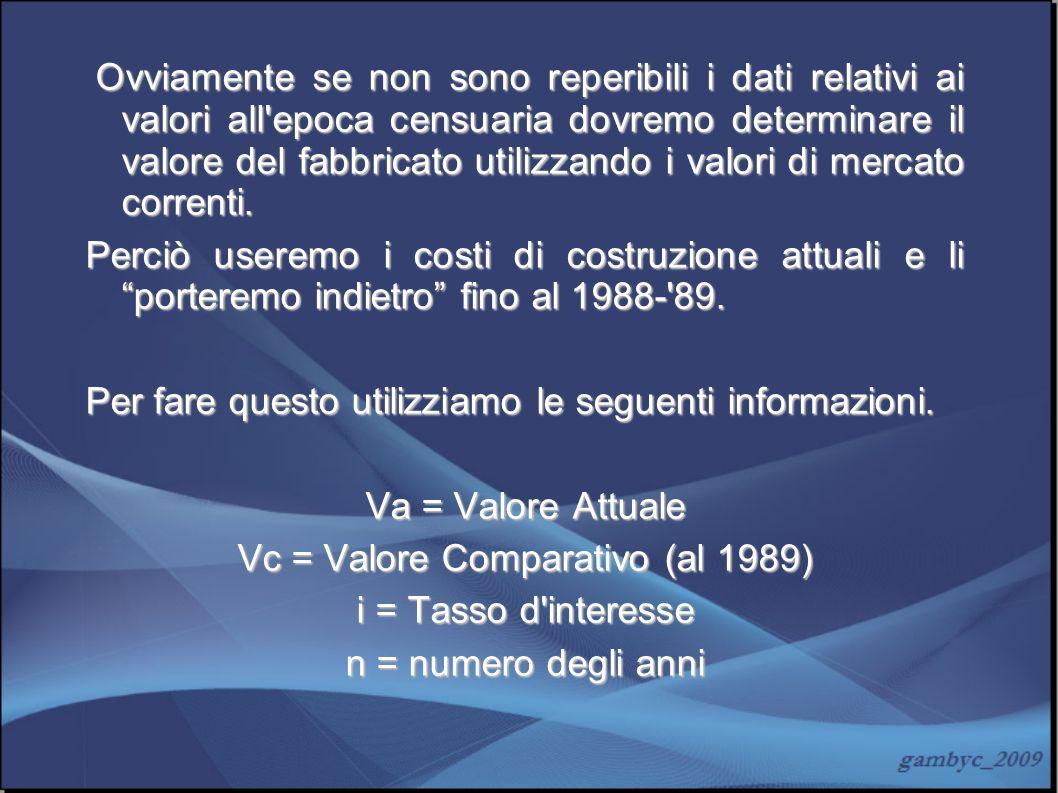 Vc = Valore Comparativo (al 1989)