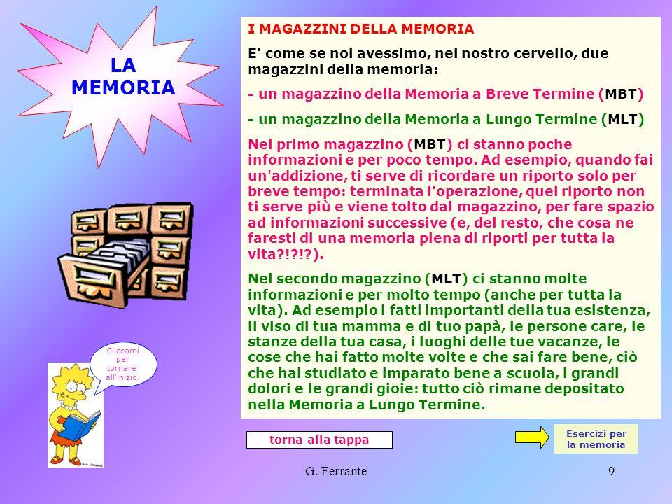 Esercizi per la memoria