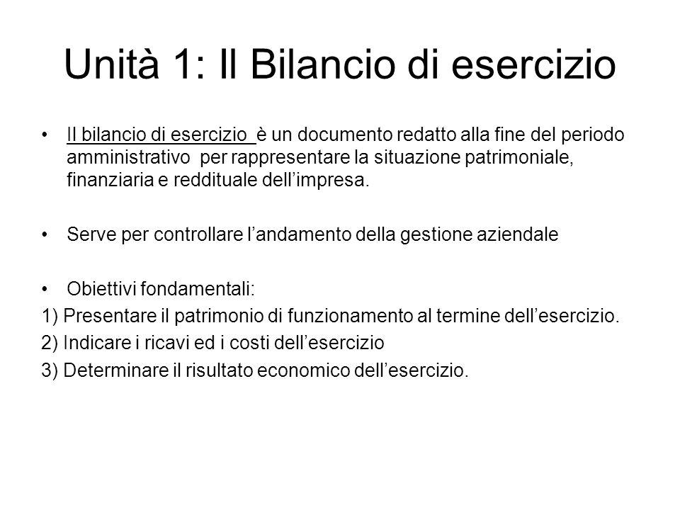 Unità 1: Il Bilancio di esercizio