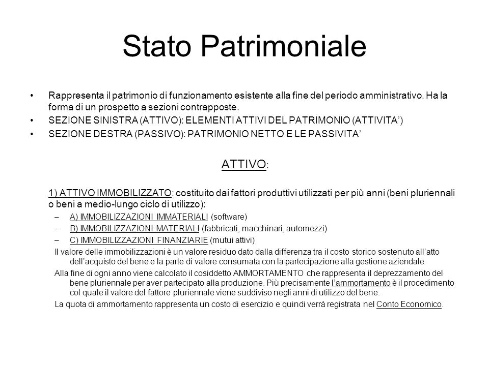 Stato Patrimoniale ATTIVO:
