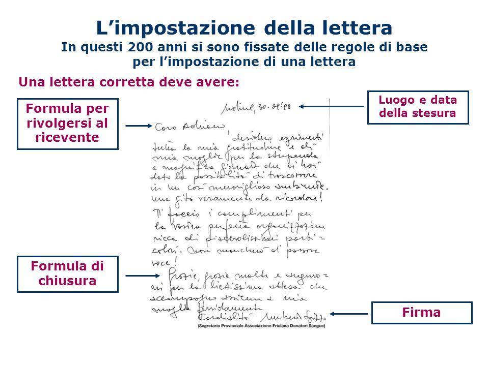 L'impostazione della lettera