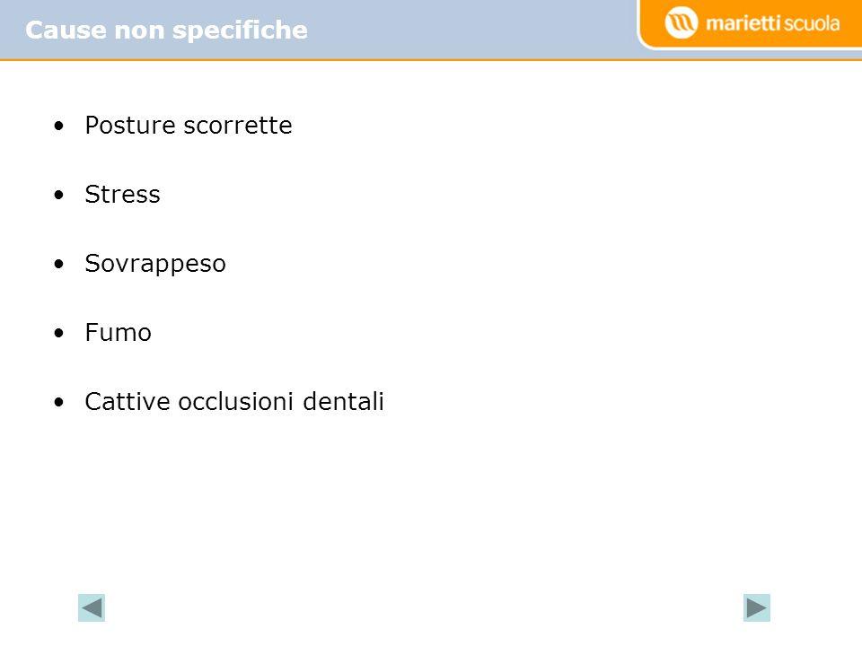 Cause non specifiche Posture scorrette Stress Sovrappeso Fumo Cattive occlusioni dentali