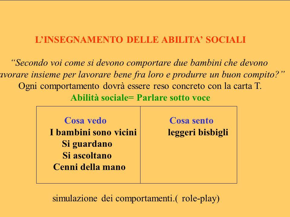 L'INSEGNAMENTO DELLE ABILITA' SOCIALI