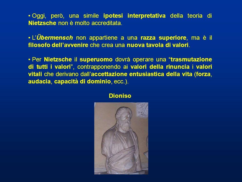 Oggi, però, una simile ipotesi interpretativa della teoria di Nietzsche non è molto accreditata.