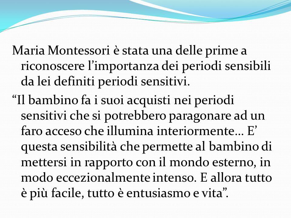 Maria Montessori è stata una delle prime a riconoscere l'importanza dei periodi sensibili da lei definiti periodi sensitivi.