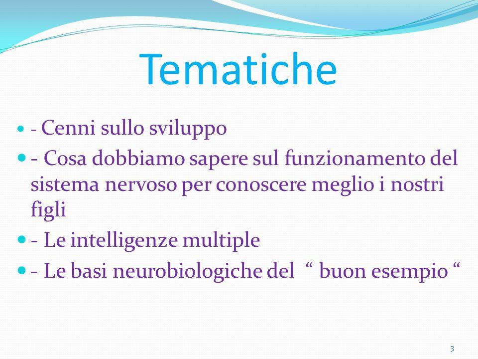 Tematiche - Cenni sullo sviluppo. - Cosa dobbiamo sapere sul funzionamento del sistema nervoso per conoscere meglio i nostri figli.