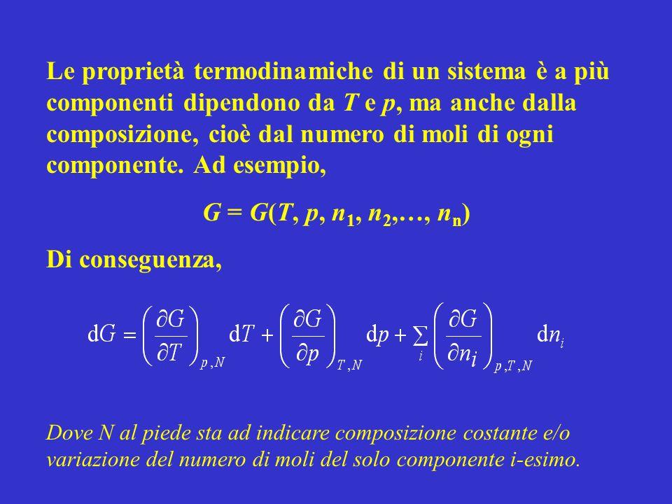 Le proprietà termodinamiche di un sistema è a più componenti dipendono da T e p, ma anche dalla composizione, cioè dal numero di moli di ogni componente. Ad esempio,
