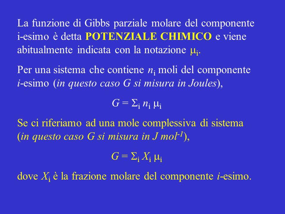 La funzione di Gibbs parziale molare del componente i-esimo è detta POTENZIALE CHIMICO e viene abitualmente indicata con la notazione mi.