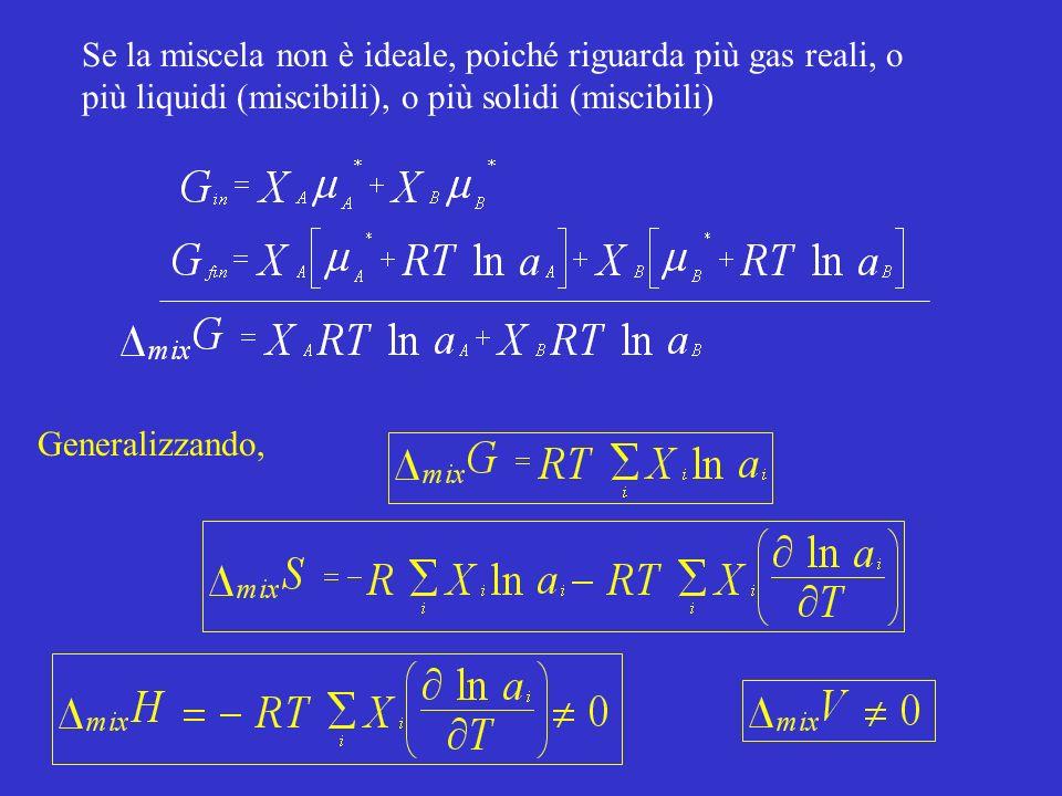 Se la miscela non è ideale, poiché riguarda più gas reali, o più liquidi (miscibili), o più solidi (miscibili)