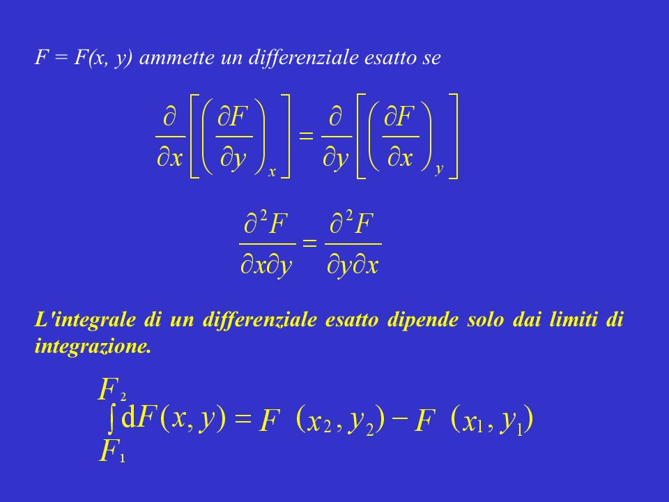 F = F(x, y) ammette un differenziale esatto se