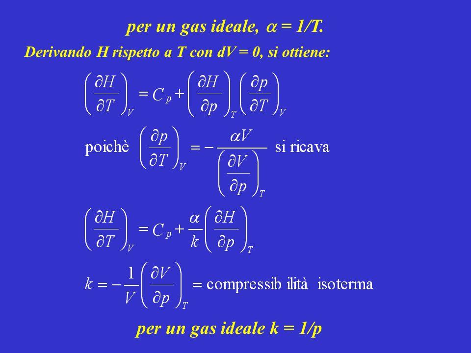 per un gas ideale, a = 1/T. per un gas ideale k = 1/p