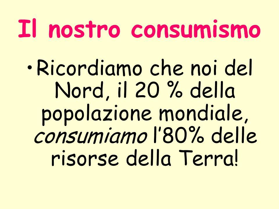 Il nostro consumismo Ricordiamo che noi del Nord, il 20 % della popolazione mondiale, consumiamo l'80% delle risorse della Terra!