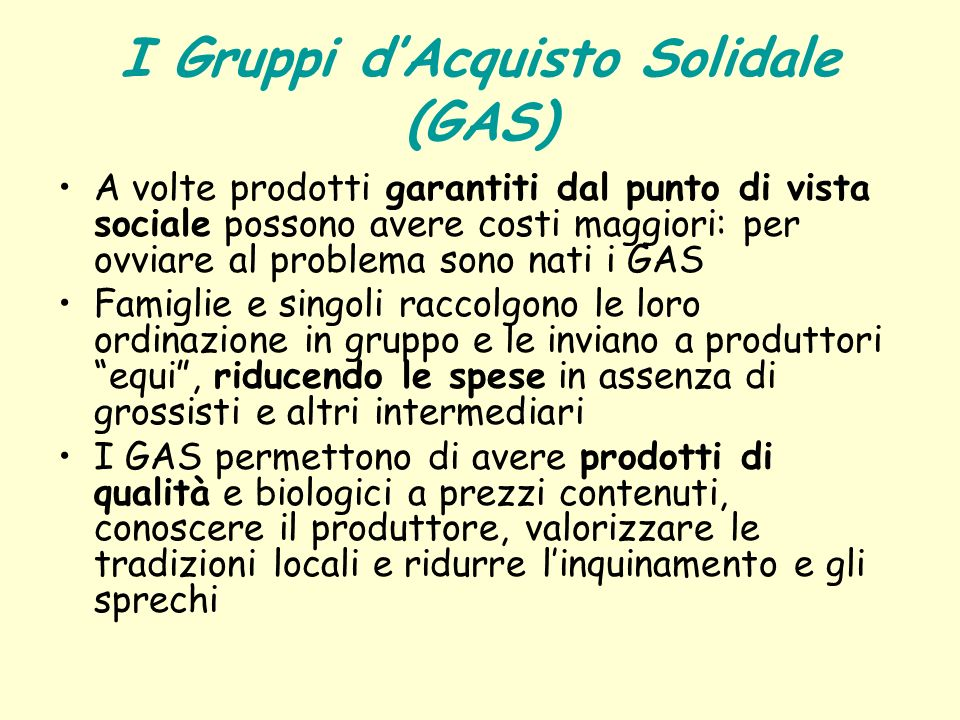 I Gruppi d'Acquisto Solidale (GAS)