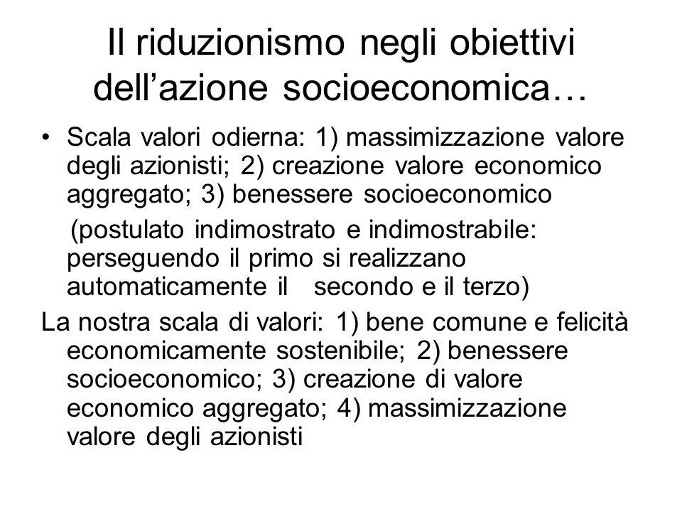 Il riduzionismo negli obiettivi dell'azione socioeconomica…