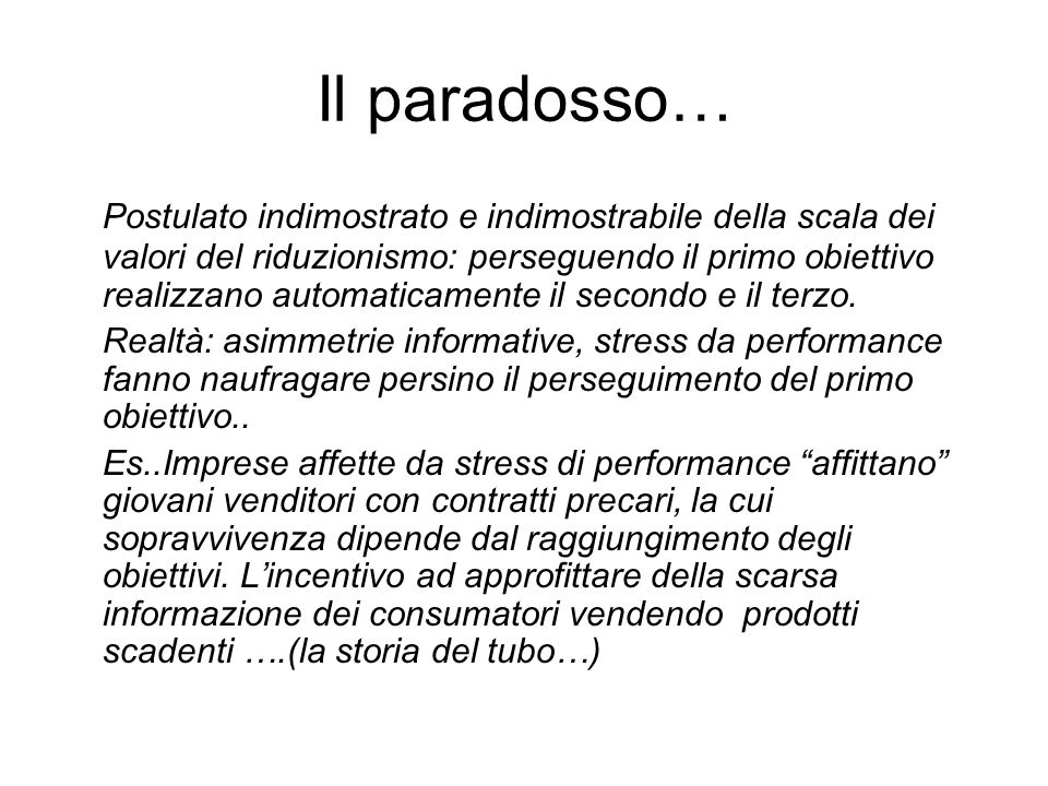 Il paradosso…