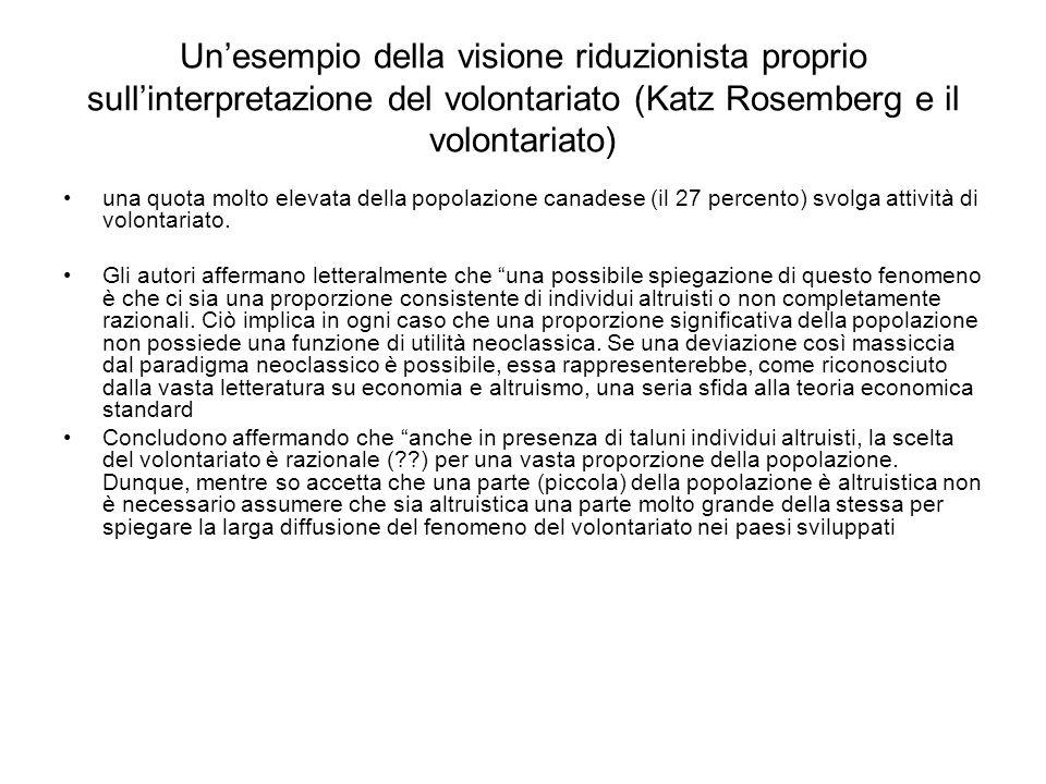 Un'esempio della visione riduzionista proprio sull'interpretazione del volontariato (Katz Rosemberg e il volontariato)