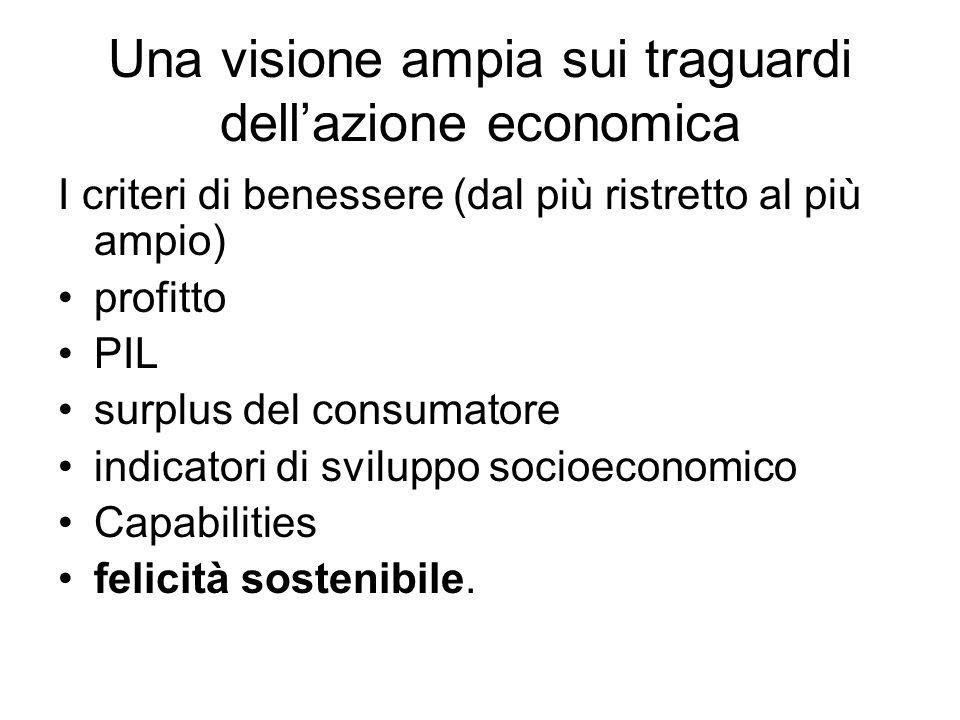 Una visione ampia sui traguardi dell'azione economica