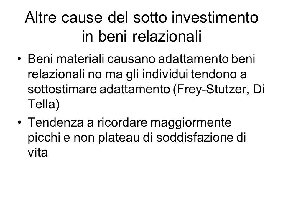 Altre cause del sotto investimento in beni relazionali