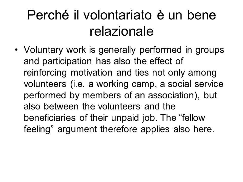 Perché il volontariato è un bene relazionale
