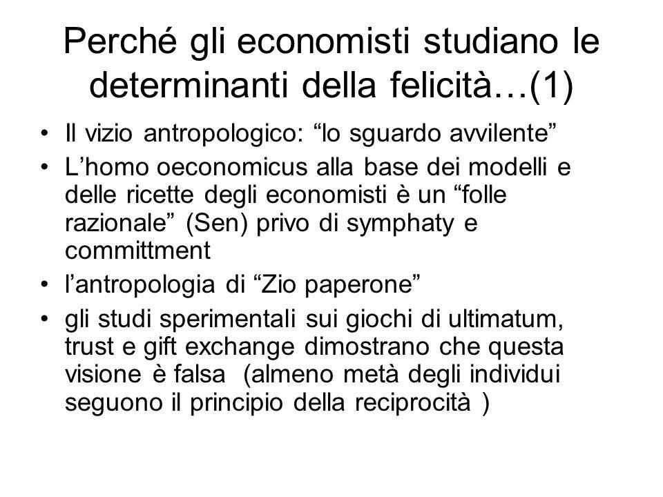 Perché gli economisti studiano le determinanti della felicità…(1)