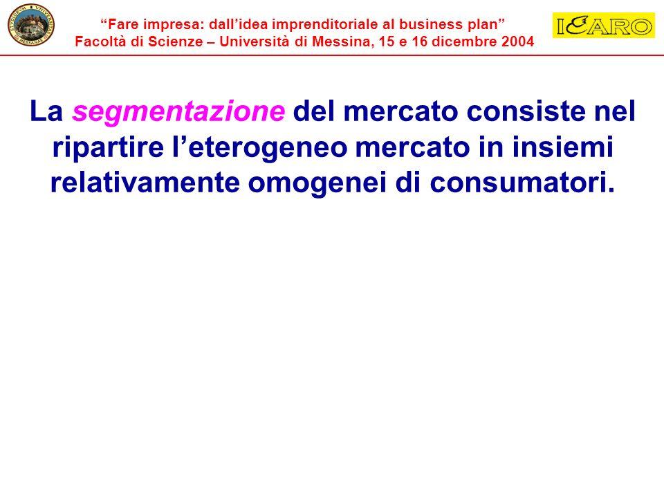 La segmentazione del mercato consiste nel ripartire l'eterogeneo mercato in insiemi relativamente omogenei di consumatori.