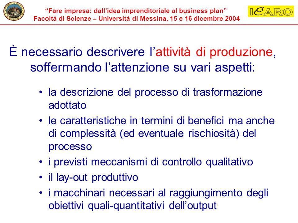 È necessario descrivere l'attività di produzione, soffermando l'attenzione su vari aspetti: