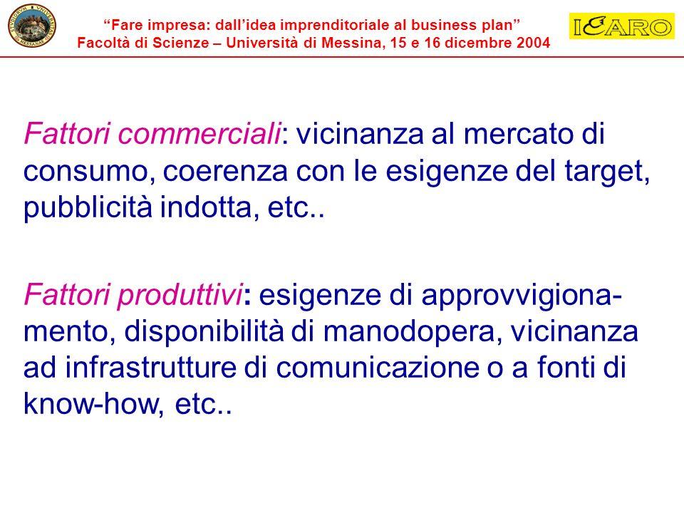 Fattori commerciali: vicinanza al mercato di consumo, coerenza con le esigenze del target, pubblicità indotta, etc..
