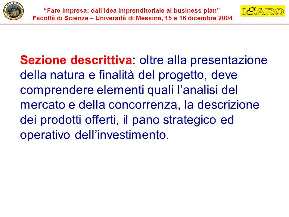 Sezione descrittiva: oltre alla presentazione della natura e finalità del progetto, deve comprendere elementi quali l'analisi del mercato e della concorrenza, la descrizione dei prodotti offerti, il pano strategico ed operativo dell'investimento.