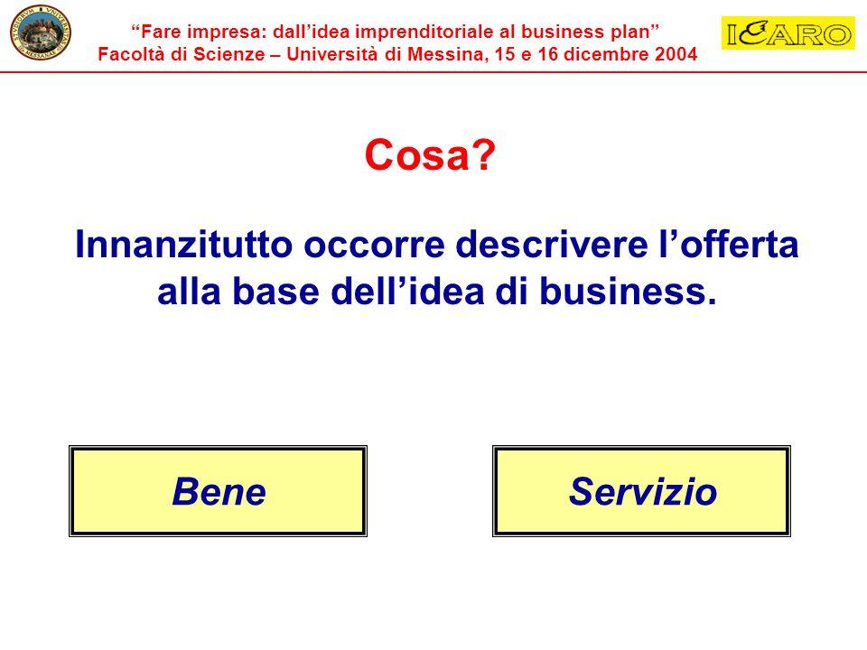 Cosa Innanzitutto occorre descrivere l'offerta alla base dell'idea di business. Bene Servizio