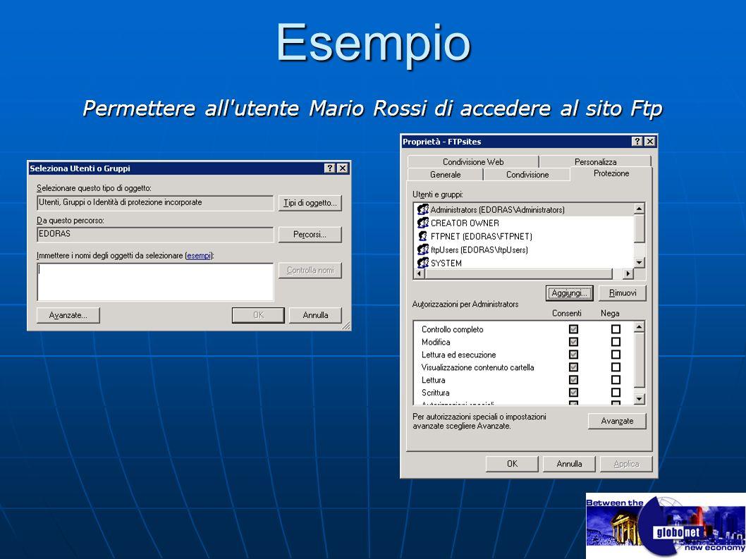 Permettere all utente Mario Rossi di accedere al sito Ftp