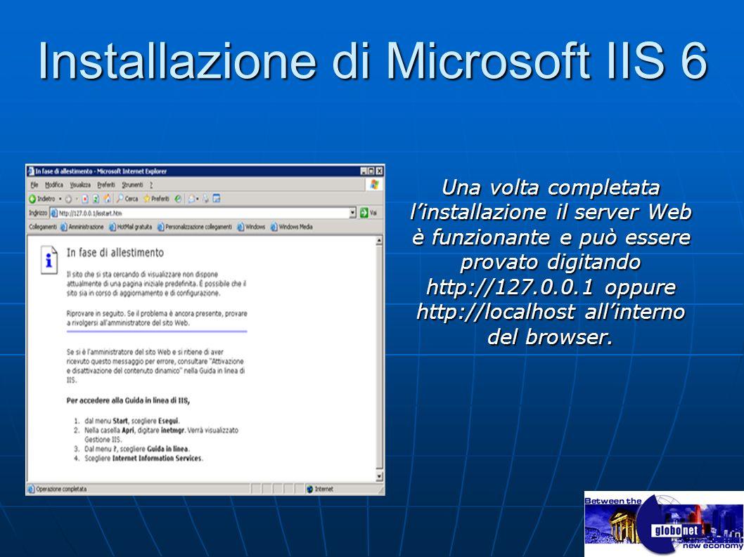 Installazione di Microsoft IIS 6