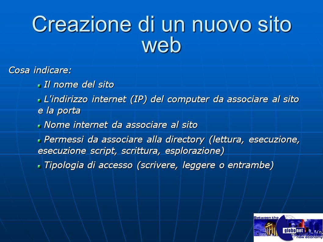Creazione di un nuovo sito web