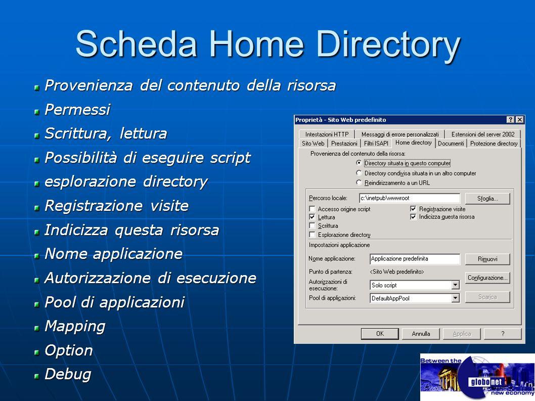 Scheda Home Directory Provenienza del contenuto della risorsa Permessi