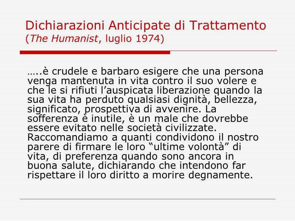 Dichiarazioni Anticipate di Trattamento (The Humanist, luglio 1974)