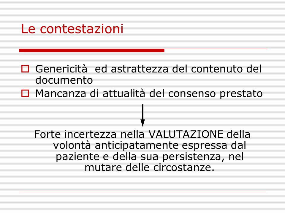 Le contestazioni Genericità ed astrattezza del contenuto del documento