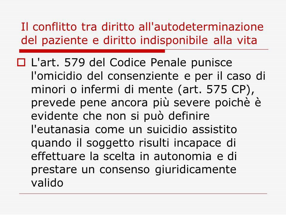 Il conflitto tra diritto all autodeterminazione del paziente e diritto indisponibile alla vita