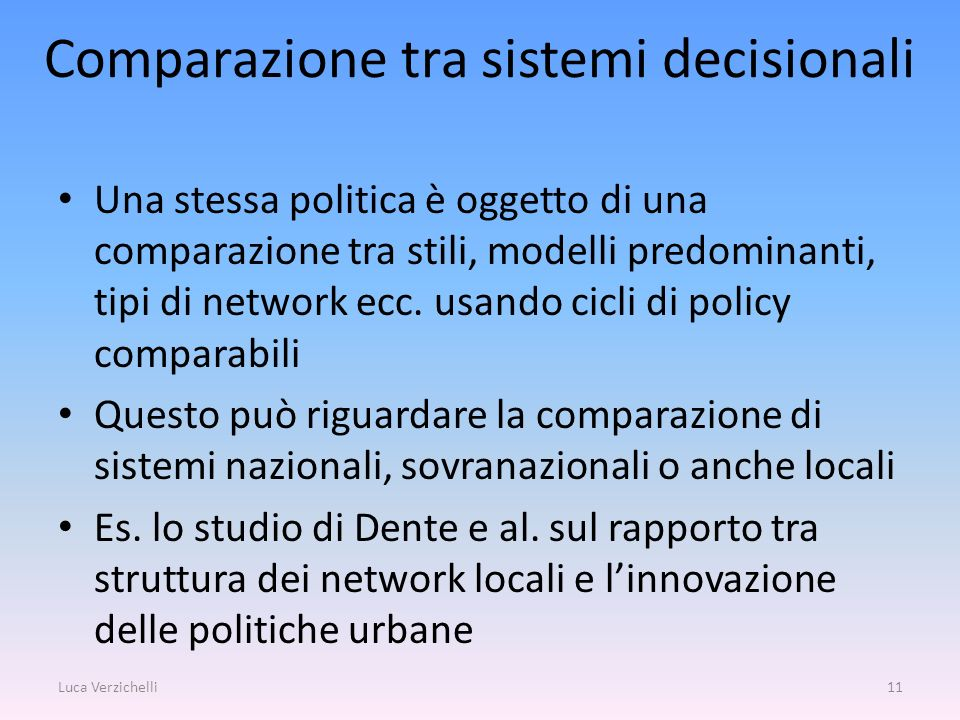 Comparazione tra sistemi decisionali