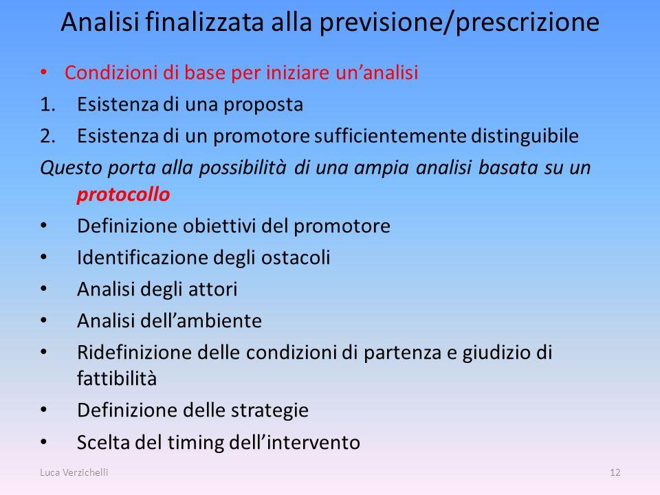 Analisi finalizzata alla previsione/prescrizione